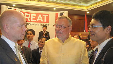 Thoummy Silamphan meets UK Foreign Minister William Hague with disability rights advocate Michael Boddington MBE. November 2012, Vientiane.